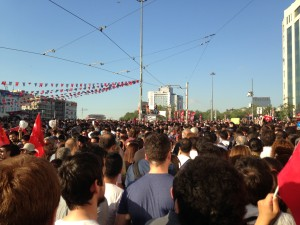 Entrance to Taksim Square on Saturday - after the police had gone.