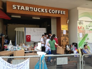 The Starbucks that refused people shelter when the protestors were attacked - now a makeshift medicine distribution centre.